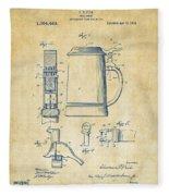 1914 Beer Stein Patent Artwork - Vintage Fleece Blanket