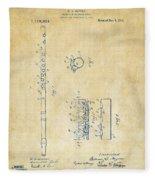 1914 Flute Patent - Vintage Fleece Blanket