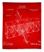 1914 Wright Brothers Flying Machine Patent Red Fleece Blanket