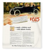 1916 - Willys Overland Roadster Automobile Advertisement - Color Fleece Blanket