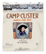 1917 - Camp Custer March One Step Sheet Music - Edward Schroeder - Color Fleece Blanket