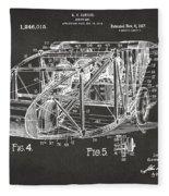 1917 Glenn Curtiss Aeroplane Patent Artwork 3 - Gray Fleece Blanket