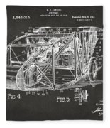 1917 Glenn Curtiss Aeroplane Patent Artwork 3 - Gray Fleece Blanket