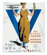 1918 - Ywca Patriotic Poster - World War One - Color Fleece Blanket