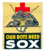1918- Red Cross Poster - World War One - Color Fleece Blanket