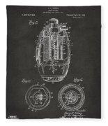 1919 Hand Grenade Patent Artwork - Gray Fleece Blanket