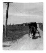 1920s 1930s Amish Man Driving Buggy Fleece Blanket