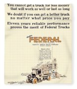 1921 - Federal Truck Advertisement - Color Fleece Blanket