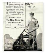 1921 - Moto Mower Lawnmower Advertisement Fleece Blanket