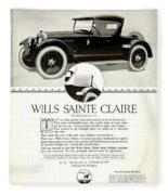 1921 - Wills Sainte Claire Automobile Roadster Advertisement Fleece Blanket
