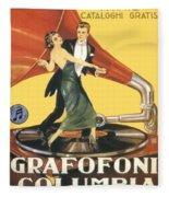 1922 - Columbia Gramophone Company Italian Advertising Poster - Color Fleece Blanket