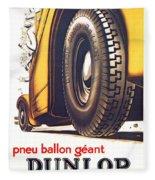 1924 - Dunlop Tires French Advertisement Poster - Color Fleece Blanket