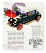 1926 - Chrysler Imperial Convertible Model 80 Automobile Advertisement - Color Fleece Blanket