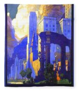 1926 - New York Central Railroad - Chicago Travel Poster - Color Fleece Blanket