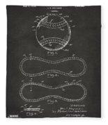 1928 Baseball Patent Artwork - Gray Fleece Blanket