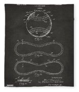 1928 Baseball Patent Artwork - Gray Fleece Blanket