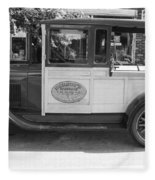 1928 Chevy Half Ton Pick Up In Black And White Fleece Blanket