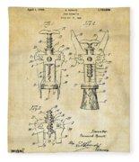 1928 Cork Extractor Patent Art - Vintage Black Fleece Blanket
