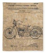 1928 Harley Davidson Motorcyle Patent Illustration Fleece Blanket