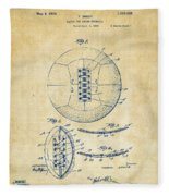 1928 Soccer Ball Lacing Patent Artwork - Vintage Fleece Blanket