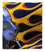 1929 Model A 2 Door Sedan With Flames Fleece Blanket