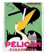 1930 - Pelican Cigarettes French Advertisement Poster - Color Fleece Blanket