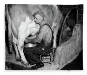 1930s 1940s Elderly Farmer In Overalls Fleece Blanket
