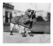 1930s Cocker Spaniel Wearing Glasses Fleece Blanket