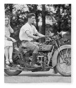 1930s Motorcycle Touring Fleece Blanket