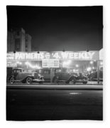 1930s New And Used Car Lot At Night Fleece Blanket