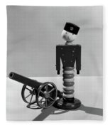 1930s Wooden Toy Soldier Next To Cannon Fleece Blanket