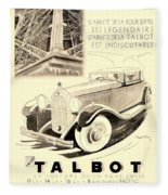 1931 - Talbot French Automobile Advertisement Fleece Blanket