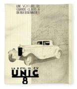 1931 - Unic 8 French Automobile Advertisement Fleece Blanket