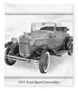 1931 Ford Convertible Fleece Blanket