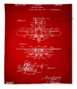 1932 Amphibian Aircraft Patent Red Fleece Blanket