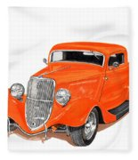 1933 Ford Three Window Coupe Fleece Blanket