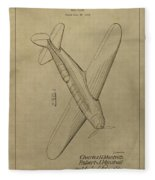 1934 Mail Plane Patent Fleece Blanket