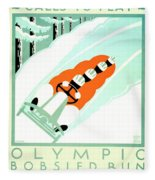 1935 - Lake Placid - New York - Travel Poster - Color Fleece Blanket