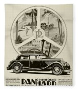 1935 - Panhard Panoramique French Automobile Advertisement Fleece Blanket