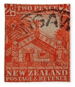 1935 Carved Maori House New Zealand Stamp Fleece Blanket