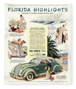 1936 - De Soto Airflow IIi Automobile Advertisement - Color Fleece Blanket