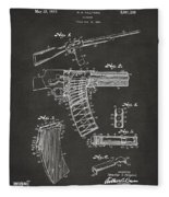 1937 Police Remington Model 8 Magazine Patent Artwork - Gray Fleece Blanket