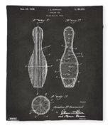 1939 Bowling Pin Patent Artwork - Gray Fleece Blanket