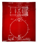 1939 Snare Drum Patent Red Fleece Blanket