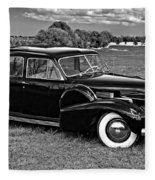 1940 Cadilac Bw Fleece Blanket
