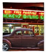 1940 Ford Deluxe Coupe At Mickeys Dinner  Fleece Blanket