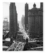 1940s Downtown Skyline Michigan Avenue Fleece Blanket