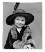 1940s Girl In Oversized Velvet Dress Fleece Blanket
