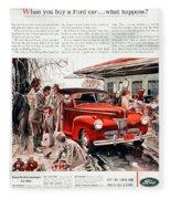 1941 - Ford Super Deluxe Automobile Advertisement - Color Fleece Blanket