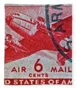 1941 - 1944 Six Cents Air Mail Stamp -  U. S. Army Cancelled Fleece Blanket